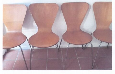 4 timber and stainless steel leg kitchen chairs
