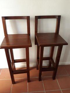 2 matching solid timber bar stools