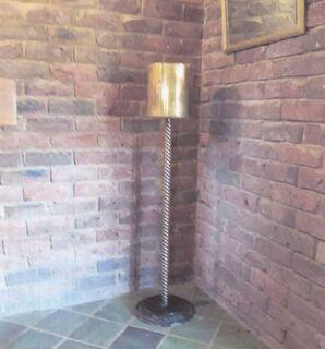 Brass pot stand plus brass shell casing WW2 -