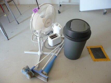 Sundries, brooms, toaster, fan, bin, jug, power boards