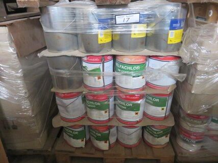 Approx 500 litres x 5 ltr cans yellow & red oil base