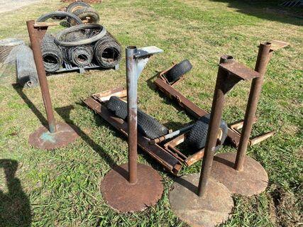 Assorted stands & steel frame