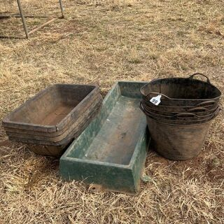 Water trough and horse feeders