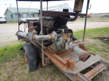 Lister Diesel Motor and Pump on trailer