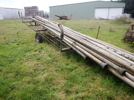 """Old Irrig. Pipe trailer & approx. 20 x 4"""" Pipes"""