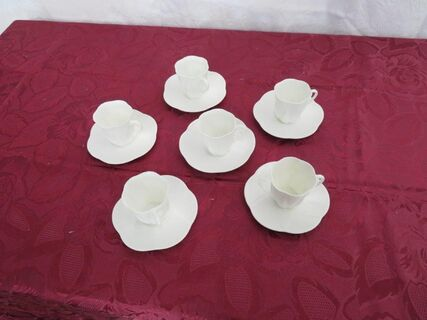 Shelley Dainty White Demitasse Cups and Saucers