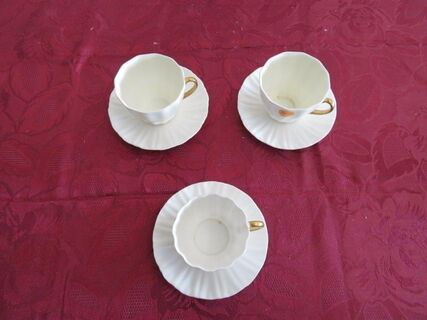 Royal Doulton Countess White Gold Trim cups and saucers