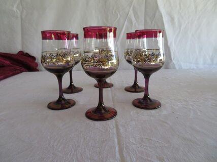 Vintage cranberry wine glasses
