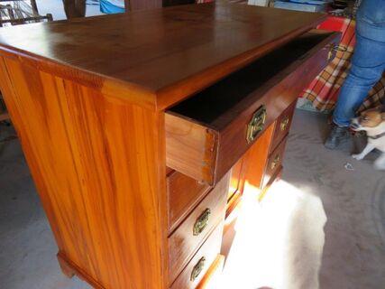 Circa 1890 Continental fruitwood kneehole desk