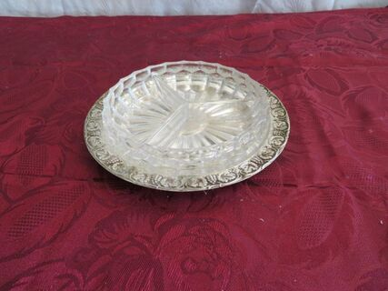 Vintage lead crystal divided dish on silver tray