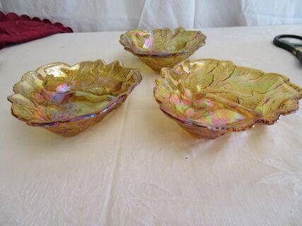 Carnival glass sweet trays x 3
