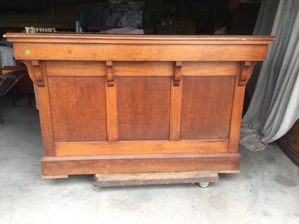 Silky Oak Shop Counter with original cast iron paper roll dispenser