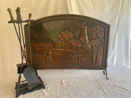 Brass fire screen and tools