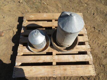 galvanised chicken feeders x 2