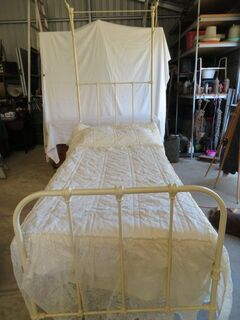 Cast Iron half tester single bed, powder coated - cream with x 2 bedspreads