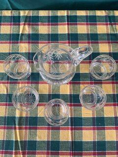 crystal water jug set and 5 glasses