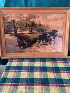 Copper etched country style art in good condition