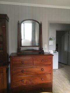 Circa 1835 William IV pillared mahogony dressing table mirror