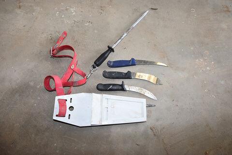 Butchers knives, sharpener & case