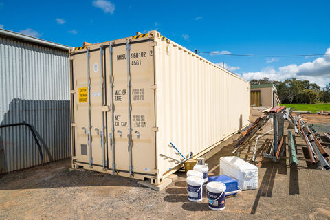 40ft shipping container (cream in colour), 9.6ft high, 2x whirly birds for ventilation