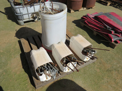 Pallet of fencing equipment including gate gudgeons, hinges, chains and accessories