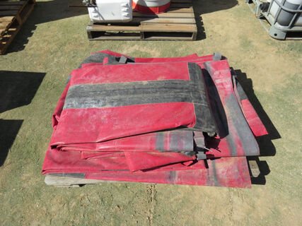 Pallet containing 2x red truck tarps