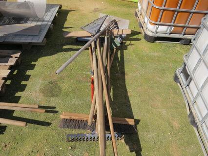 Bundle containing rakes, brooms, pitch forks, hoe, truck grain scraper