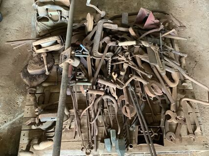 Old tools soldering irons forge tools, spanners
