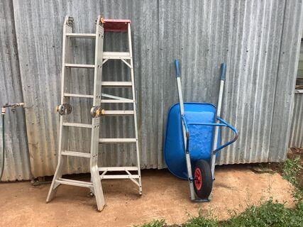 Aluminium ladders and wheel barrow