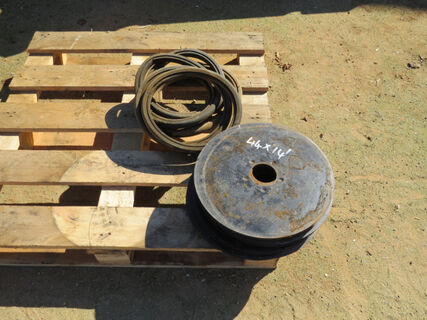 """Pallet containing 44 x 14"""" disc coulters and press wheel rubbers"""