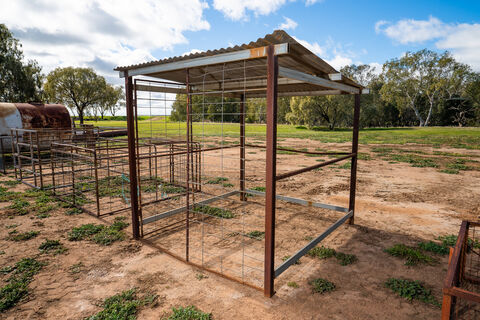 Pump shed: 2120mm x 2350mm in size, corrugated iron roof