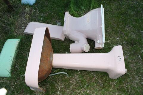Pink Porcelain Sink & Toilet