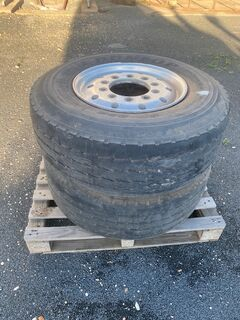 Pair of Offset 385/65/22.5R Steer tyres.