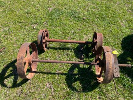 """2x 14"""" Wheels on Axle & 2x 10"""" Wheels on Axle"""
