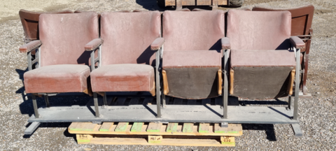 TWO ROWS OF MOVIE THEATRE SEATS