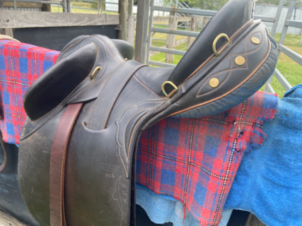"""STOCK SADDLE 15"""" APPROX. HANDMADE """"A"""" DAVIS STOCKMANS THRONE. TAMWORTH. FULLY MOUNTED."""