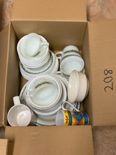 Plate, cups and bowls