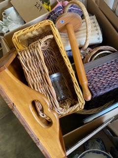 Cane baskets and tray