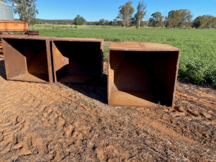 Steel feed out bin (x 3)